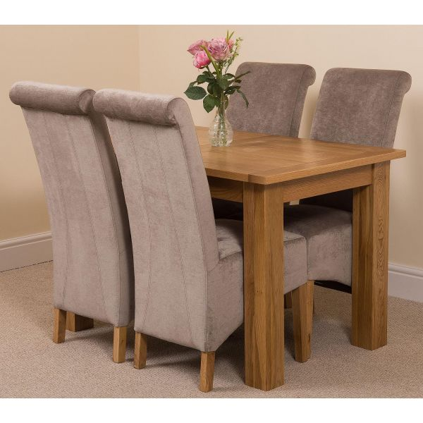 Hampton Solid Oak 120-160cm Extending Dining Table with 4 Montana Dining Chairs [Grey Fabric]