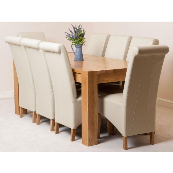 Kuba Solid Oak 180cm Dining Table with 8 Montana Dining Chairs [Ivory Leather]