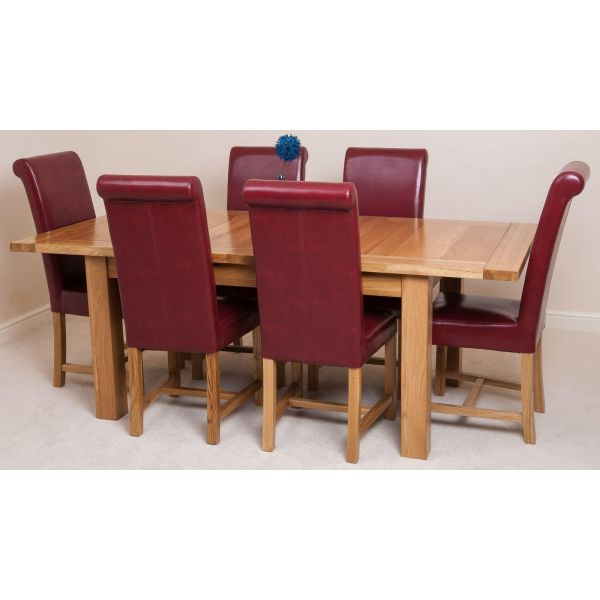 Seattle Solid Oak 150cm-210cm Extending Dining Table with 6 Washington Dining Chairs [Burgundy Leather]