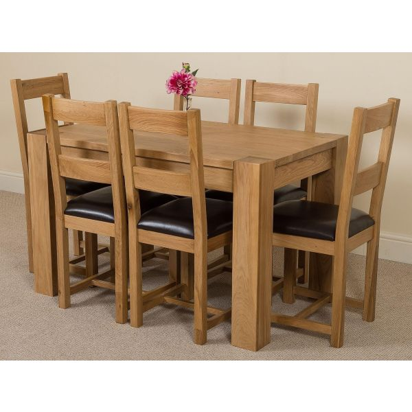 Kuba Solid Oak 125cm Dining Table with 6 Lincoln Solid Oak Dining Chairs [Light Oak and Brown Leather]
