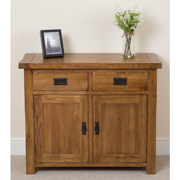cotswold rustic small oak sideboard face