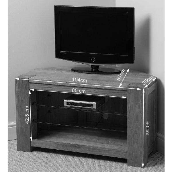 Kuba Solid Oak Corner TV Cabinet - Dimensions (Black and White)