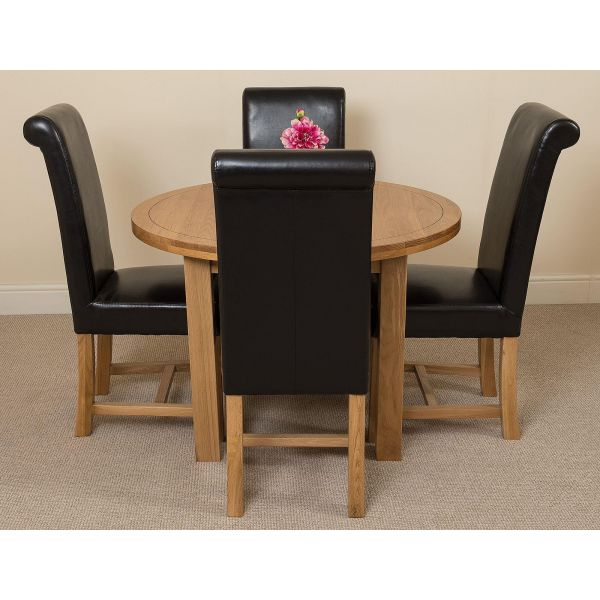 Edmonton Solid Oak Extending Oval Dining Table with 4 Washington Dining Chairs [Black Leather]