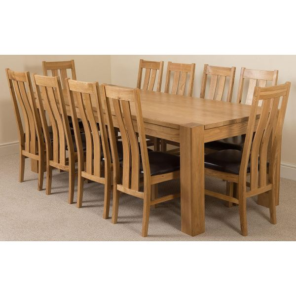 Kuba Solid Oak 220cm Dining Table with 10 Princeton Solid Oak Dining Chairs [Light Oak and Brown Leather]