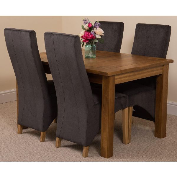 Cotswold Rustic Solid Oak Dining Table - 4 Lola Black Fabric Dining Chairs