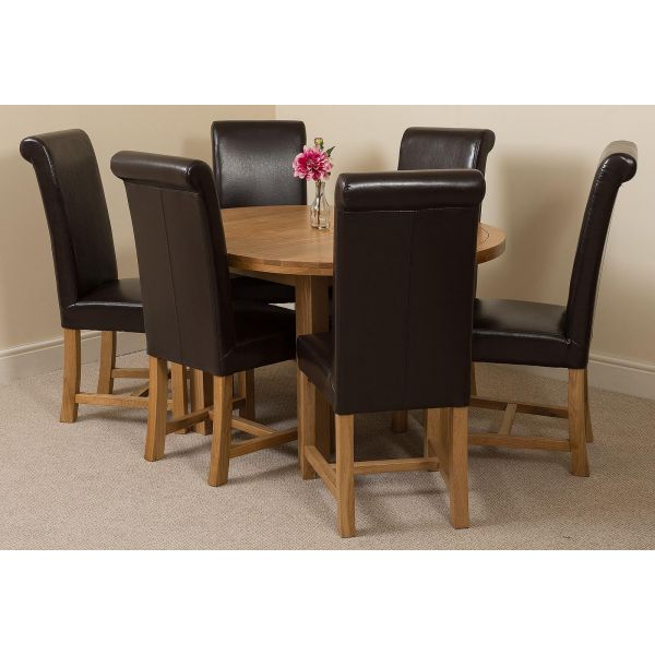 Edmonton Solid Oak Extending Oval Dining Table with 6 Washington Dining Chairs [Brown Leather]