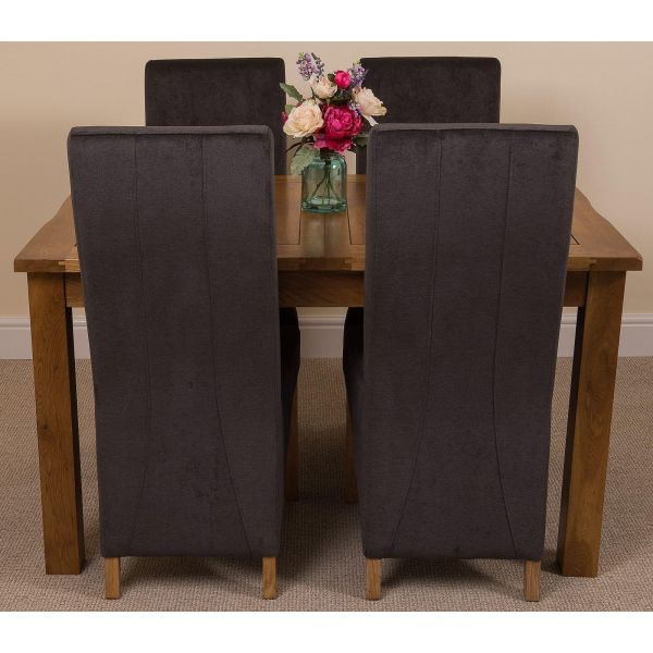 Cotswold Rustic Solid Oak Dining Table - 4 Lola Black Fabric Dining chairs - Front