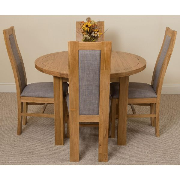 Edmonton Solid Oak Extending Oval Dining Table with 4 Stanford Solid Oak Dining Chairs [Light Oak and Grey Fabric]