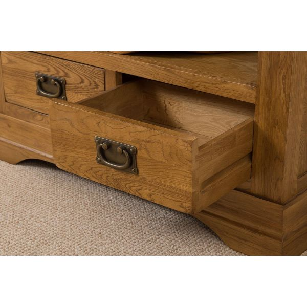 French Chateau Solid Oak Large Bookcase (Drawer)