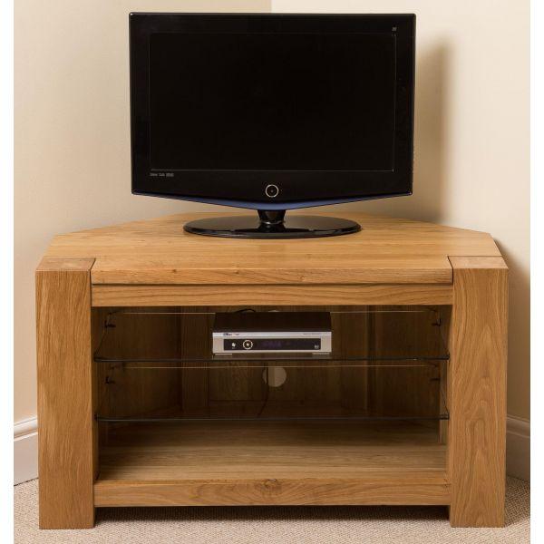 Kuba Solid sleek Oak Corner TV Cabinet - Front