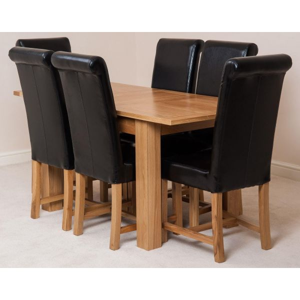 Hampton Solid Oak 120-160cm Extending Dining Table with 6 Washington Dining Chairs [Black Leather]