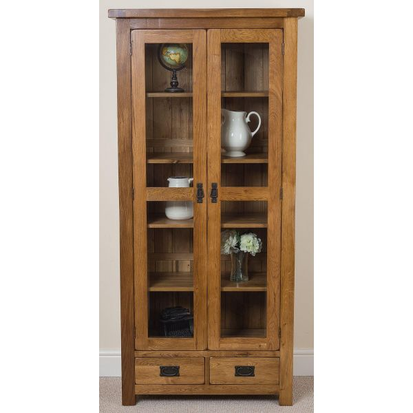 Cotswold Rustic Oak Display Cabinet