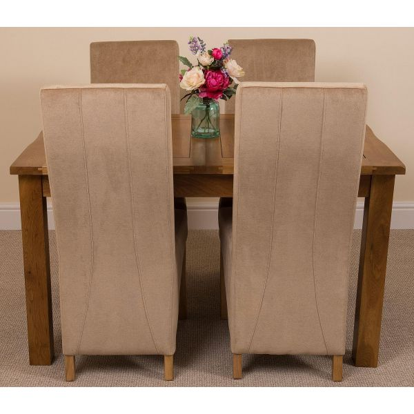 Cotswold Rustic Solid Oak Dining Table - Beige Fabric Lola Dining Chairs - Front