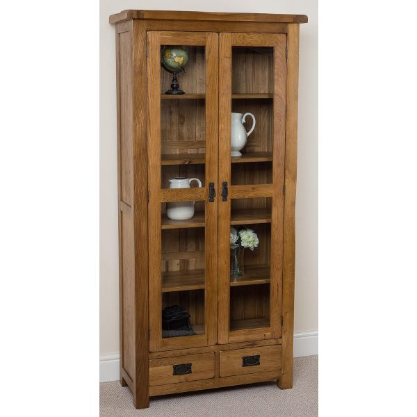 Cotswold Rustic Oak Display Cabinet - Left Angle