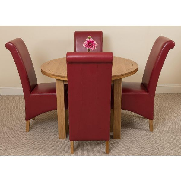 Edmonton Solid Oak Extending Oval Dining Table with 4 Montana Dining Chairs [Burgundy Leather]