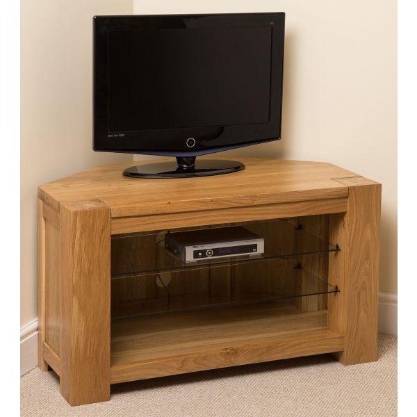 Kuba Solid Oak Corner TV Cabinet - Left Side