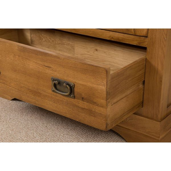French Chateau Solid Oak Display Cabinet - Drawer