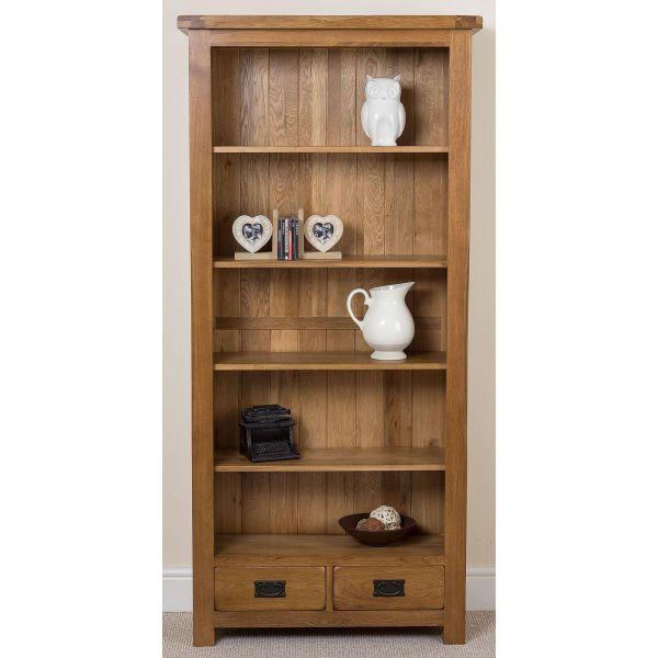 Cotswold Oak Large Oak Bookcase - Front