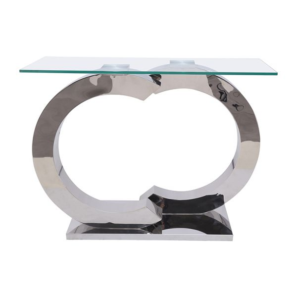 Channel Glass Console Table with Chrome Legs