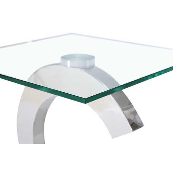 Channel Clear glass and Chrome Lamp Table