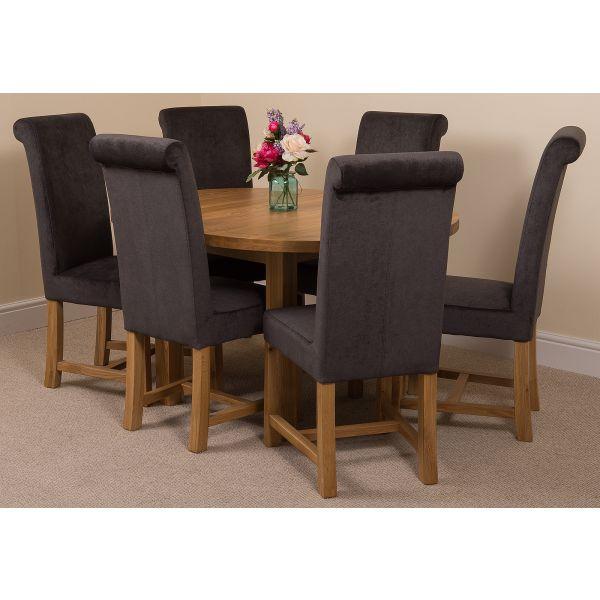 Edmonton Round Oak Dining Set with 6 Washington Dark Grey Fabric Chairs