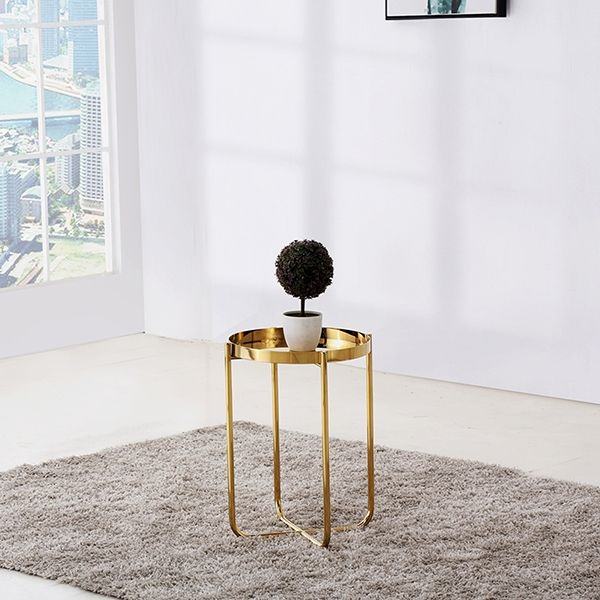 Ember Golden Round Tray Top Side End Table