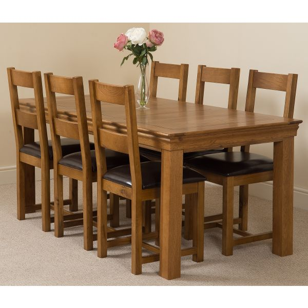French Chateau Rustic Solid Oak 180cm Dining Table with 6 Lincoln Solid Oak Dining Chairs [Rustic Oak and Brown Leather]
