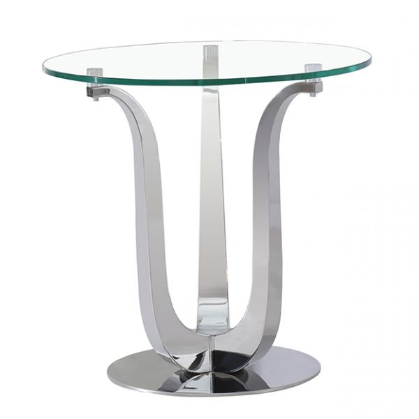 Naples Round Glass and Chrome Lamp Table