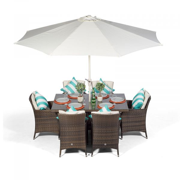 Savannah 150cm Rectangle 6 Seater Rattan Dining Set - Brown