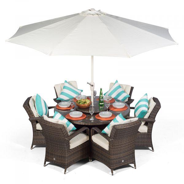 Arizona 135cm Round 6 Seater Rattan Dining Set - Brown