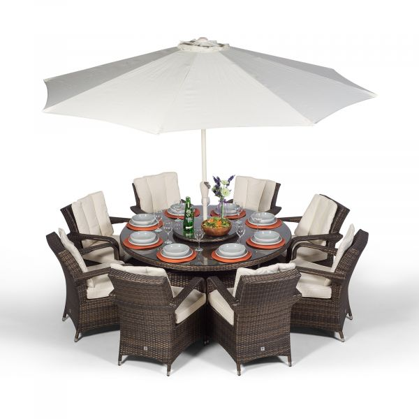 Arizona 155cm Round 8 Seater Rattan Dining Set - Brown