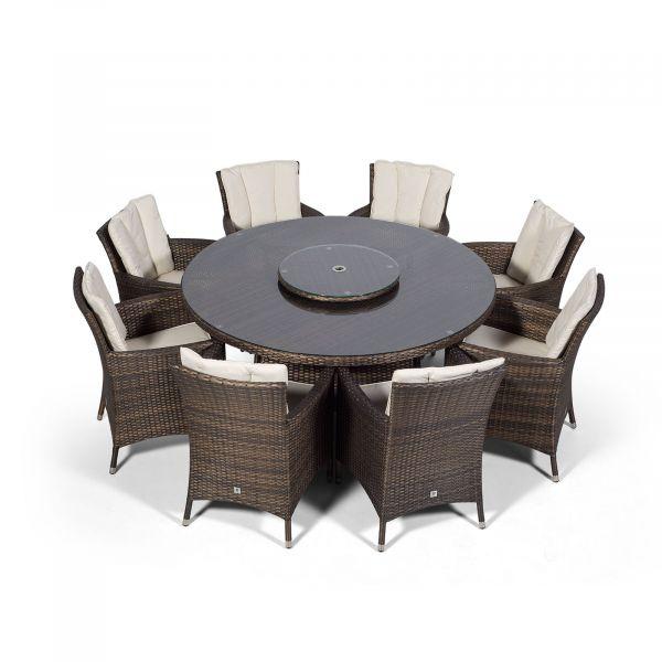 Savannah Round 8 Seater Rattan Dining Set - Brown