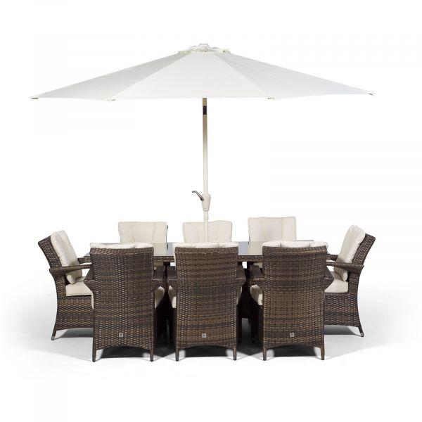Arizona 200cm Rectangle 8 Seater Rattan Dining Set - Brown