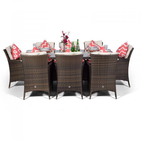 Savannah 200cm Rectangle 8 Seater Rattan Dining Set - Brown