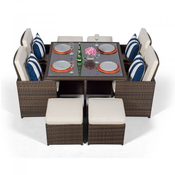Giardino Rattan 4 Seater Cube Dining Table & Chairs Set with 4 Stools & Parasol - Brown
