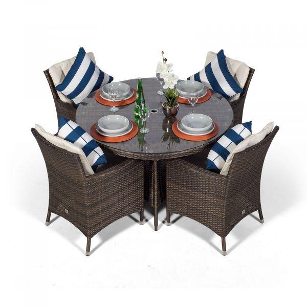 Savannah Round 4 Seater Rattan Dining Set - Brown