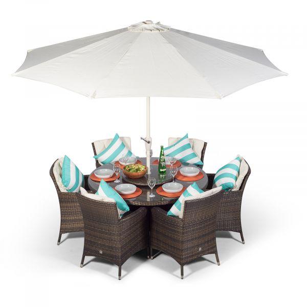 Savannah Round 6 Seater Rattan Dining Set - Brown