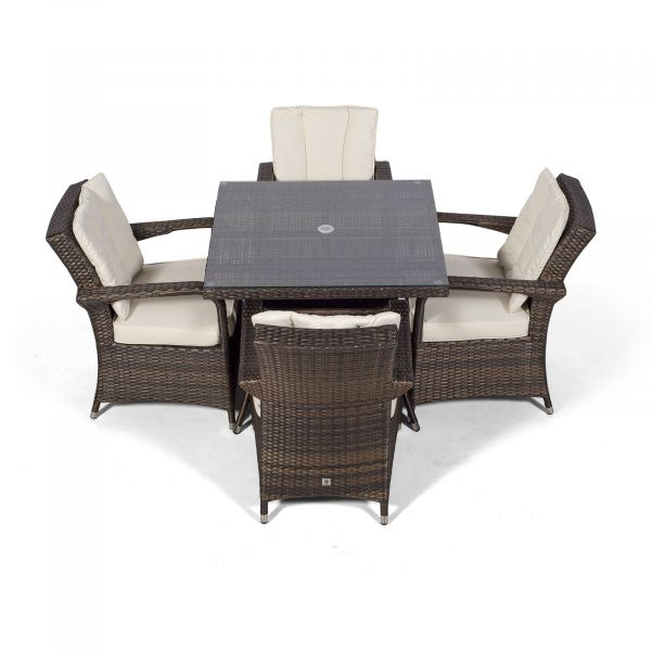Arizona 90cm Square 4 Seater Rattan Dining Set - Brown