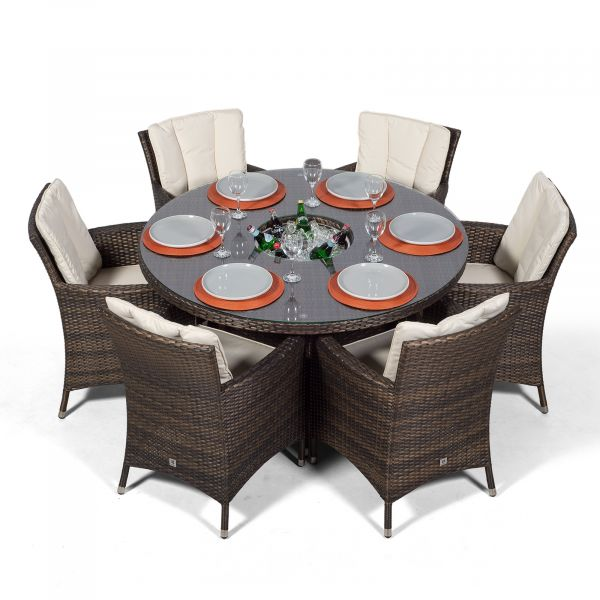 Savannah 6 Seat Round Patio Dining Set with Ice Bucket Drinks Cooler - Brown