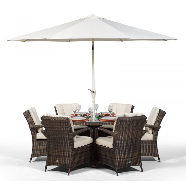 Arizona 135cm Round 6 Seater Rattan Dining Set with Drinks Cooler - Brown