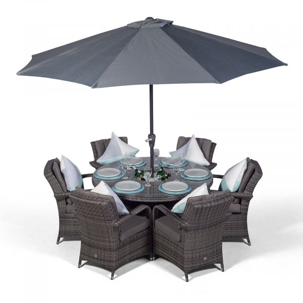 Arizona 135cm Round 6 Seater Rattan Dining Set with Drinks Cooler - Grey