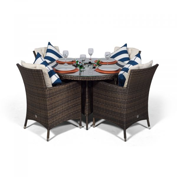 Savannah 4 Seater Round Patio Dining Set with Ice Bucket Drinks Cooler - Brown