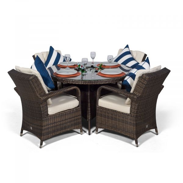 Arizona 120cm Round 4 Seater Rattan Dining Set with Drinks Cooler - Brown