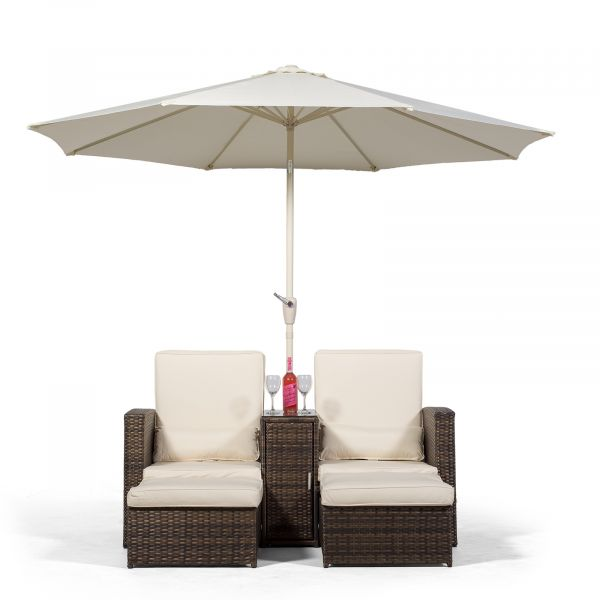 Nevada 2 Seat Armchair Sun Lounger Recliner With Stools And Parasol - Brown