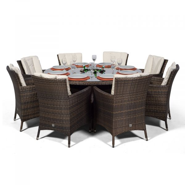 Savannah 8 Seater Rattan Patio Dining Set with Ice Bucket Drinks Cooler - Brown