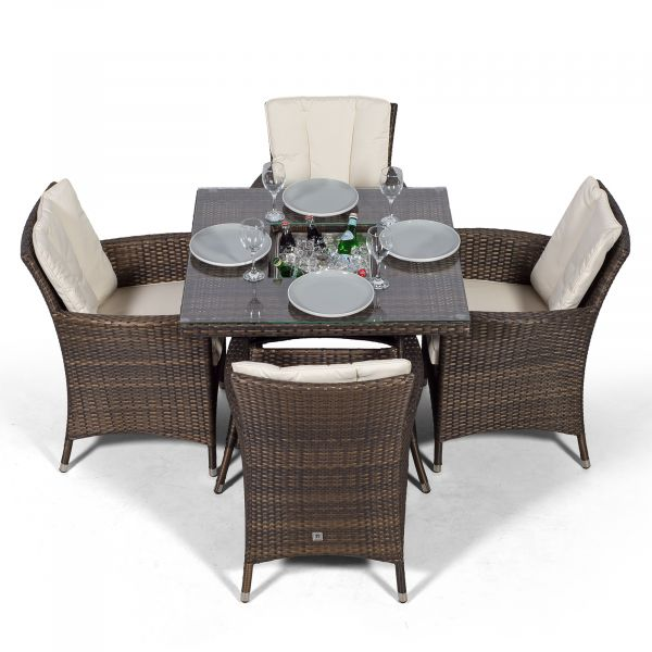 Savannah Square 4 Seater Rattan Dining Set with Drinks Cooler - Brown
