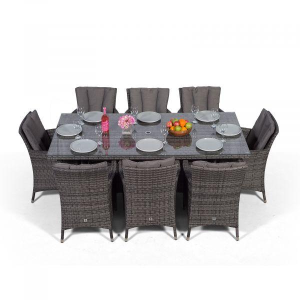 Savannah 200cm Rectangular 8 Seater Rattan Dining Set - Grey