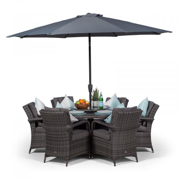 Arizona 135cm Round 6 Seater Rattan Dining Set - Grey
