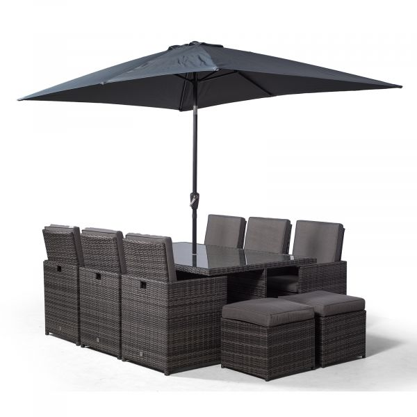 Giardino Rattan 6 Seater Cube Dining Table & Chairs Set with 4 Stools & Parasol - Grey