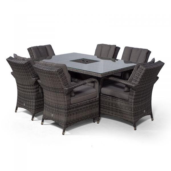 Arizona 150cm Rectangle 6 Seater Rattan Dining Set with Drinks Cooler - Grey